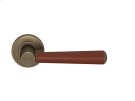 Tube Stitch Incombination Leather Door Lever In Chestnut And Fine Antique Brass Product Image