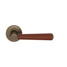 Tube Stitch Incombination Leather Door Lever In Chestnut And Fine Antique Brass