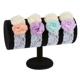 13 pc. assortment. Baby Double Flower Lace Headband & Countertop Displayer.
