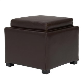 Cameron Square Leather Storage Ottoman w/ tray, Brown