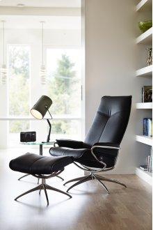 Stressless City High Back Medium Chair and Ottoman