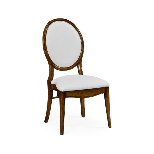 Stacking Spoon Back Walnut Dining Side Chair, Upholstered in COM