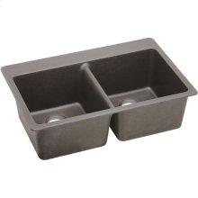 "Elkay Quartz Classic 33"" x 22"" x 9-1/2"", Equal Double Bowl Drop-in Sink, Greige"