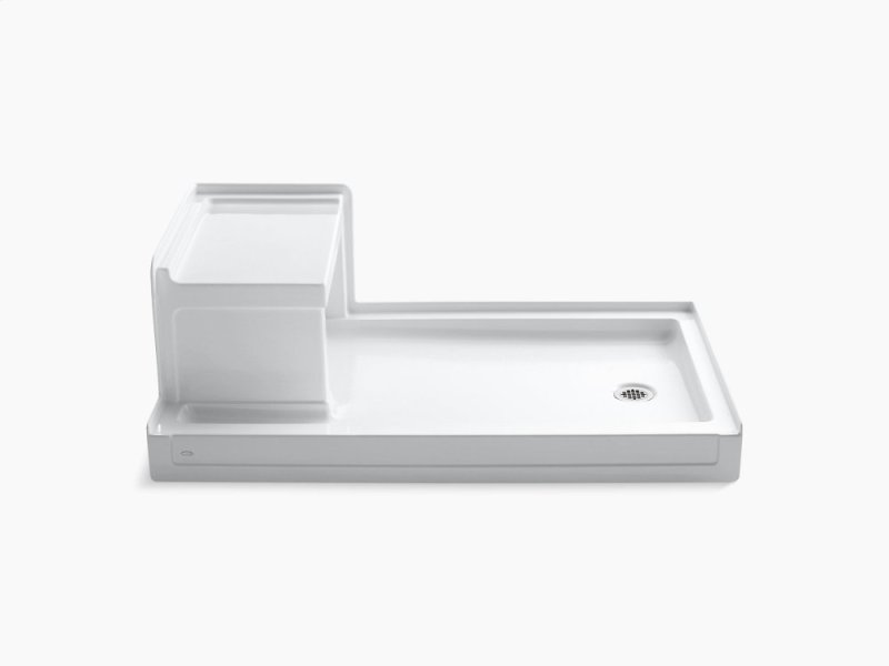 White 60 X 36 Single Threshold Right Hand Drain Shower Base With Integral