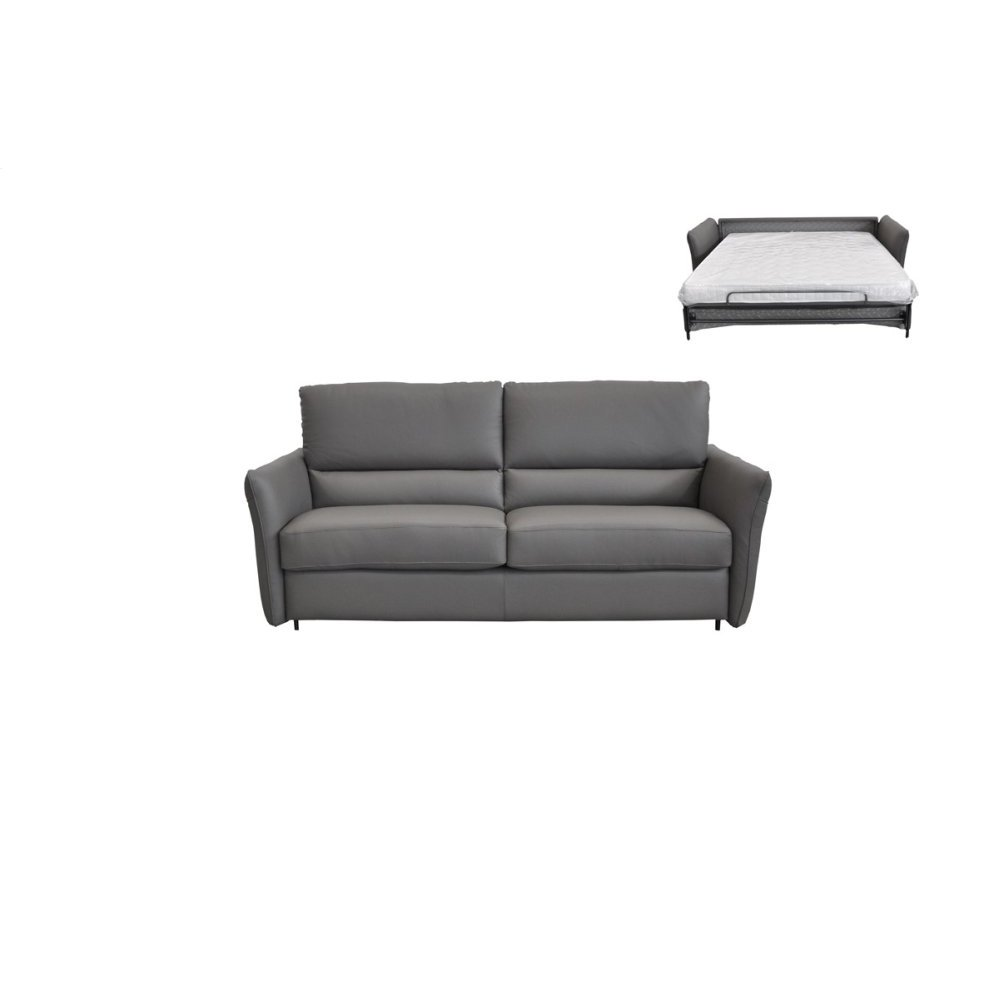 Estro Salotti Smack Italian Modern Grey Leather Sofa Bed