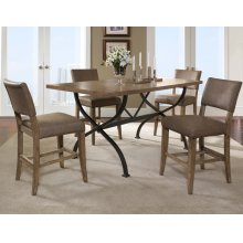 Charleston 5pc Counter Height Rectangle Wood Dining with Parson Stools