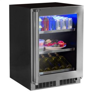 """MarvelProfessional 24"""" Wine Cellar with Display Rack & Hinge Pin - Stainless Steel Framed-Glass Door with Lock, Left Hinge"""