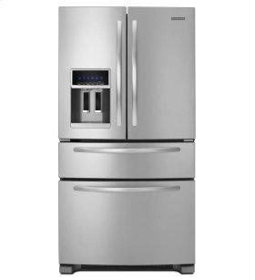 KitchenAid® 25 Cu. Ft. Standard-Depth Four Door French Door Refrigerator, Architect® Series II - Monochromatic Stainless Steel