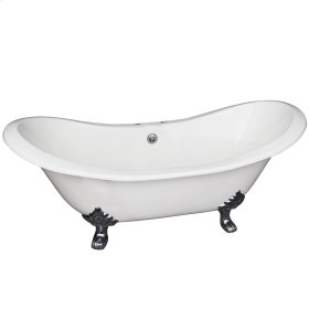 "Macon 61"" Cast Iron Double Slipper Tub - 7"" Rim Holes - White"