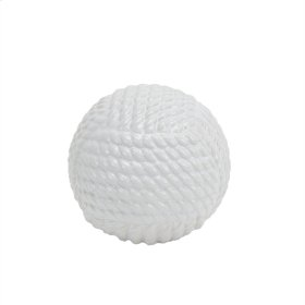 White Ceramic Rope Orb 5.75""