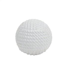 "White Ceramic Rope Orb 5.75"""
