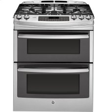 "GE Profile Series 30"" Slide-In Double Oven Gas Range"