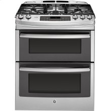 """GE Profile™ Series 30"""" Slide-In Front Control Double Oven Gas Range"""