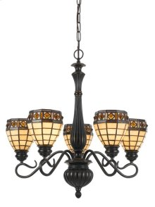 60W X 5 TIFFANY 5 LIGHT CHANDELIER