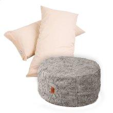 Pillow Pod Footstools - Faux Fur - Grey