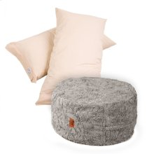 Pillow Pod Footstools - Faux Fur - Grey