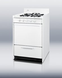 """White gas range in slim 24"""" width with pilot light ignition"""