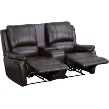 Allure Series 2-Seat Reclining Pillow Back Brown Leather Theater Seating Unit with Cup Holders