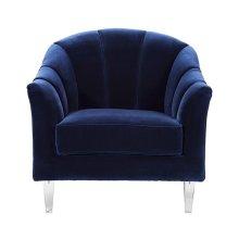 Channel Back Lounge Chair In Navy Velvet