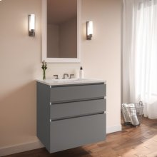 "Curated Cartesian 24"" X 7-1/2"" X 21"" and 24"" X 15"" X 21"" Three Drawer Vanity In Matte Gray Glass With Tip Out Drawer, Slow-close Plumbing Drawer, Full Drawer and Engineered Stone 25"" Vanity Top In Quartz White (silestone White Storm)"