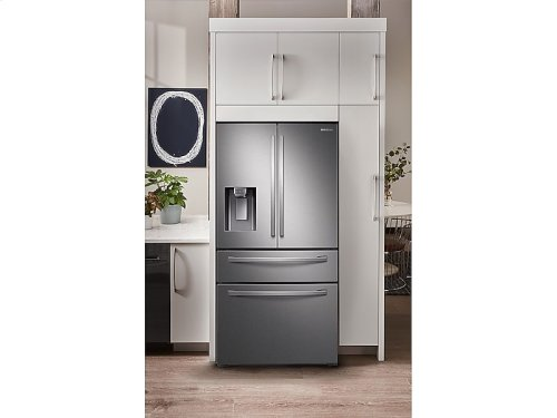 22 cu. ft. 4-Door French Door, Counter Depth Refrigerator with Food Showcase in Stainless Steel