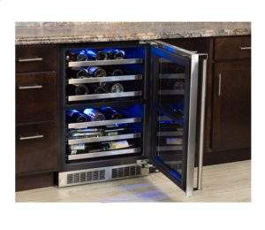 """24"""" High Efficiency Dual Zone Wine Cellar - Stainless Frame, Glass Door With Lock - Integrated Right Hinge"""