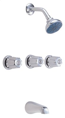 Chrome Gerber® Classic Three Handle Tub & Shower Fitting