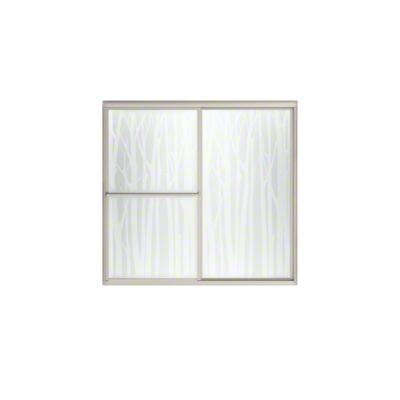 "Deluxe Sliding Bath Door - Height 56-1/4"", Max. Opening 59-3/8"" - Nickel with Birchwood Glass Pattern"