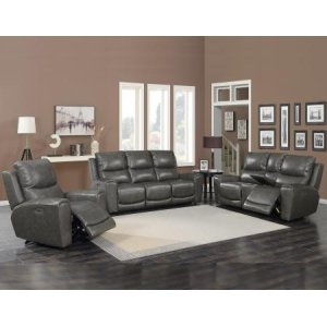 Steve Silver Co.Laurel Grey 3-Piece Dual-Power Leather Motion Set(Sofa, Loveseat & Chair)