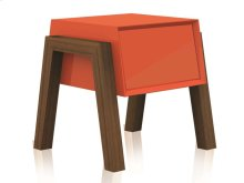The Figo High Gloss Orange Lacquer Nightstand / End Table