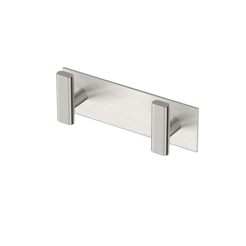 Elevate All Modern Decor Double Hook in Satin Nickel