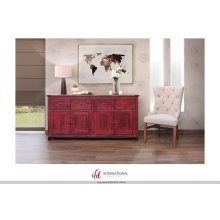 4 Drawer, 4 doors console - Red finish