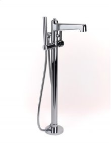 Darby Floor-mount Tub Filler with Handshower - Polished Chrome