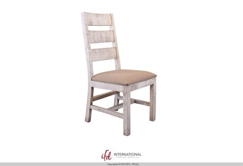 Chair w/Ladder back, fabric seat, Solid wood