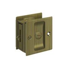 "Pocket Lock, 2 1/2""x 2 3/4"" Privacy - Antique Brass"