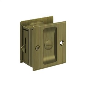 "Pocket Lock, 2 1/2""x 2 3/4"" Privacy - Antique Brass"