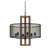 60W X 6 Monza Wood Chandelier With Mesh Shade (Edison Bulbs Not Included)