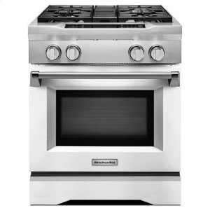 KitchenAid® 30'' 4-Burner Dual Fuel Freestanding Range, Commercial-Style - Imperial White Product Image