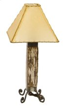 White Dark Wood & Iron Lamp Product Image