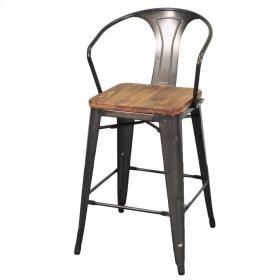 Metropolis Metal Counter Stool Wood Seat, Gunmetal