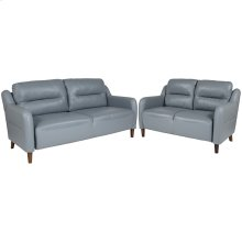 Newton Hill Upholstered Bustle Back Loveseat and Sofa Set in Gray Leather