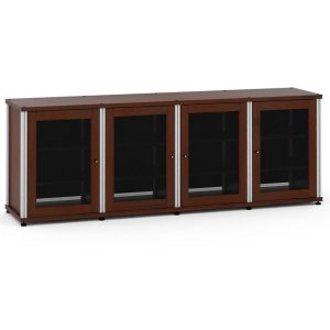 Salamander DesignsSynergy Solution 347, Quad-Width AV Cabinet, Walnut with Aluminum Posts