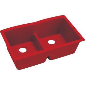 "Elkay Quartz Luxe 33"" x 19"" x 10"", Equal Double Bowl Undermount Sink with Aqua Divide, Maraschino"