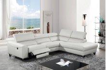 Divani Casa Versa Modern Light Grey Eco-Leather Sectional w/ Recliner