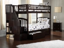 Westbrook Staircase Bunk Bed Twin over Twin with Urban Bed Drawers in Espresso