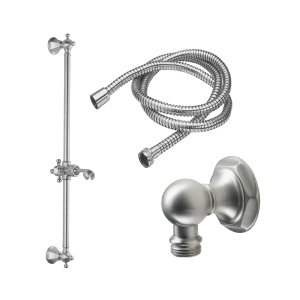 Venice Slide Bar Handshower Kit - Cross Handle With Hex Base - Polished Brass Uncoated