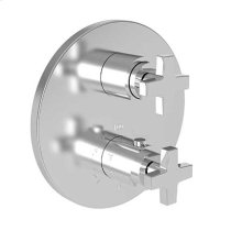 """Polished Nickel - Natural 1/2"""" Round Thermostatic Trim Plate with Handle"""
