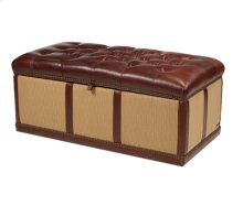 Fabric/Leather Storage Cocktail Ottoman