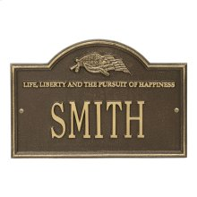 Life and Liberty Personalized Plaque - Antique Brass