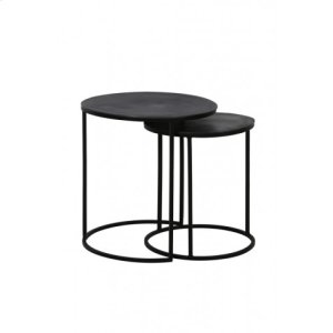 Side table S/2 41x46+ 49x52 cm TALCA raw lead antique